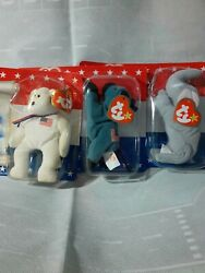 Ty Beanie Baby Liberty Lefty And Righty The American Trio All Tag Errors Set Of 3