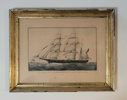 Rare Currier And Ives Lithograph Celebrated Clipper Bark Grapeshot- Small Folio