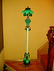 Fenton Antique Green Hobnail Opalescent Floor Lamp With 5 Bulbs