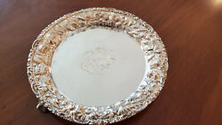 Stieff Rose Sterling Silver Full Chased Three Footed 8 Tray 294 Grams