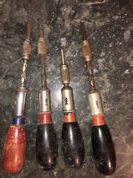 Vintage Dunlap Ratcheting Push Drill/screwdriver Made In Germany Plus 3