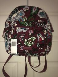Vera Bradley Leighton Backpack Small Bordeaux Blooms NEW With Tags $42.99