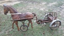 2 Extremely Rare Antique Pedal Horse Tricycles In Working Condition. Must See