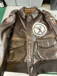 Avirex A2 Flight Jacket 44 Vintage Squadron Patch Blood Chit Flying Tiger Bomber