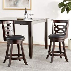 Coaster Traditional Espresso 24counter-height Swivel Bar Stool With Upholstered