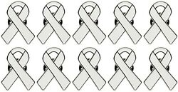 10 Pc White Lung Cancer Awareness Quality Enamel Ribbon Pins With Clutch Clasp $18.95