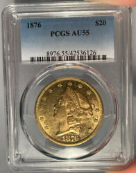 1876 20 Pcgs Au 55 Liberty Gold Double Eagle