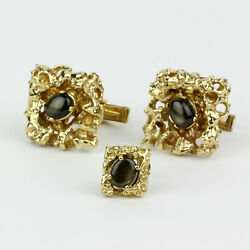 Menand039s 14k Yellow Gold And Black Star Sapphire Cufflink And Matching Tie Tack Set
