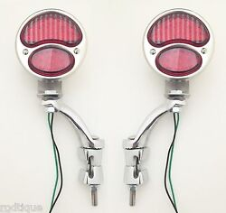 12v Led Red Lens Taillights W/ Bumper Iron Mounting No Modification Fit Ford 1