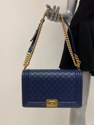 Chanel New Medium Boy Bag Navy Quilted Calfskin Leather Gold Hardware Crossbody $5400.00