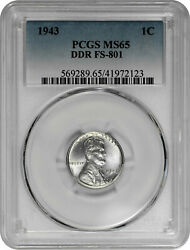 1943 1c Lincoln Steel Wheat Cent Pcgs Ms 65 Ddr Fs-801