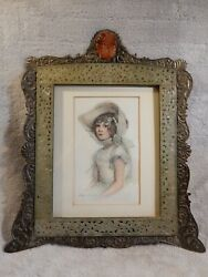 Rare Antique Jade And Brass Plate Chinese Picture Frame