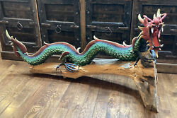 Asian Chinese Dragon Statue Sculpture On Log Over 5 Feet Long Estate Sale Find