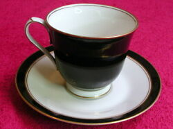 Noritake Ivory And Ebony Cup And Saucer Sets Pat 7274 Exc 4 Avail