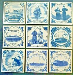 Vintage Holland America Cruise Line 9 Tiles Lot All Different Delft Coaster