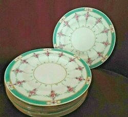 Minton B838 Persian Rose Older Pink And Turq 7.3/4 Salad/ Luncheon Plates.1917