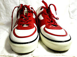 Louis Vuitton Mens Sneakers Casual Shoes 15m/uk14 White Leather Red Patent Trim