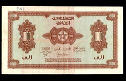Morocco 1000 Francs 1944 French Rule  P-28 Vf