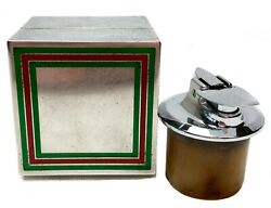 Sterling Silver Table Lighter With Green And Red Enamel