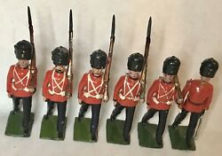 Antique Britains Toy Soldiers Royal Welch Fusiliers 5 Men And Officer Set 7