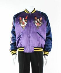 Multicoloured Cat Embroidery Bomber Jacket Size 2xl