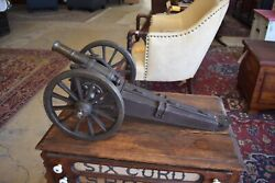 Antique Display Table Top Brass And Steel Miniature Cannon, Militaria