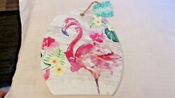 Ceramic Pink Flamingo With Orchids Wall Hanging Trivet From Cabana Bn