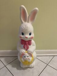 Vintage 1995 Empire Lighted Easter Bunny With Baby Basket Blow Mold Decoration