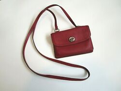 COACH Writstlet Crossbody Small Envelope Design Burgundy Red Leather Hang Tag $48.00