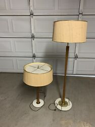 Mid Century Tapered Hourglass Walnut Lamps 2 Floor/table W/original Shades