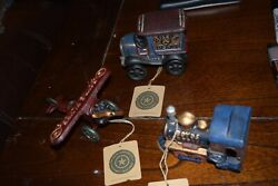 Boyds Plane , Train , And Antique Car All Cast Iron New Old Stock