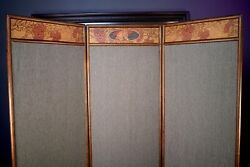 Antique Arts And Crafts Pyrography Oak 3 Section Dressing Room Divider Screen