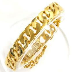 18k Yellow Gold Bracelet About17cm Curb Chain 4side Free Shipping Used