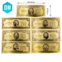 7pcs 1928 Year Us Paper Money Collections 24k Gold Plated Colorful Gold Banknote