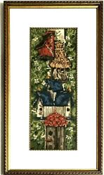 Vintage Framed Needlepoint Bird House Motif Beautiful Colors Wall Hanging