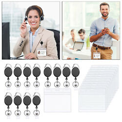 12pcs Retractable Badge Reels Id Card Holder For School Office Worker Doctor