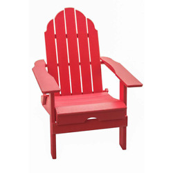37.8 In. H, Outdoor Red Foldable Made Of Hdpe Plastic Resin Lumber Adirondack Ch
