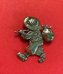 Mary Engelbreit ME Vintage Sterling 925 Brooch Pin Boy w Bindle Hobo Stick $19.95