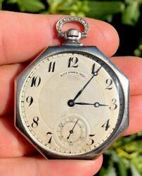 Antique Black Starr And Frost Platinum And Diamond 42mm Octagon Pocket Watch