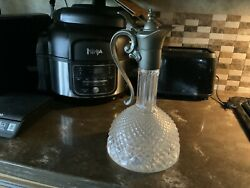 Vintage Italian Diamond Cut Glass And Pewter Wine Decanter With Handle And Spout