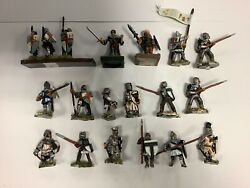 25mm Painted Medieval Men At Arms Assorted Weapons X 19 All Metal