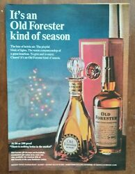 1966 Old Forester Bourbon Whiskey Bottle Christmas Tree Photo Vintage Print Ad