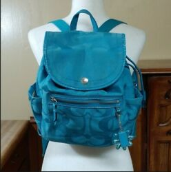 Coach Turquoise Cotton Backpack Purse $120.00