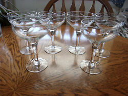 Etched Champagne Blown Smooth Stem - Set Of 6 Glasses