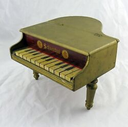 Vintage Schoenhut Toy Baby Grand Piano 12 Keys In Old Gold Paint 14 X 13 X 8