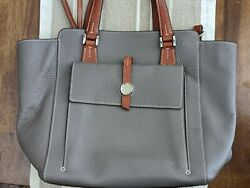 Dooney amp; Bourke satchel handbag gray pebble leather detachable shoulder strap $100.00