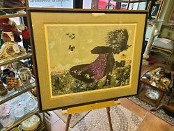Walter Williams Girl With Butterflies Original Signed 1964 182/210 30x34in