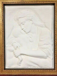 Caring By Bill Mack-b.1944-wall Sculpture-white-signed-new Frame-coa