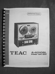 One New Copy Teac A-4010sl Reel To Reel Tape Deck Recorder Ownerandrsquos Manual