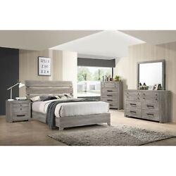 Relaxed Vintage Style 5pc Queen Platform Bed Set Wood Finish Wooden Furniture